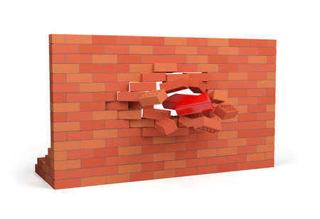 blow hole: Red arrow pierces the wall. 3d image. White background.