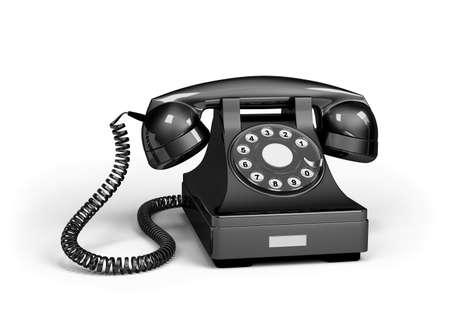 answering phone: Black shiny telephone. 3d image. White background. Stock Photo