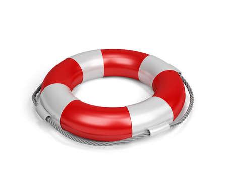 Lifebuoy with rope. 3d image. White background. 스톡 콘텐츠