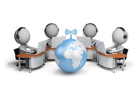 3 � persona, centro de llamadas. Imagen en 3D. Fondo blanco. Foto de archivo