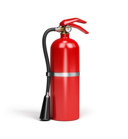 riesgo quimico: Extintor rojo. Imagen en 3D. Fondo blanco. Foto de archivo