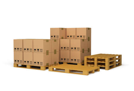 corrugated box: Boxes on wooden pallet. 3d image. White background. Stock Photo