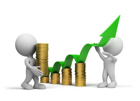Equipo de empresarios para promover su negocio. Imagen en 3D. Fondo blanco.