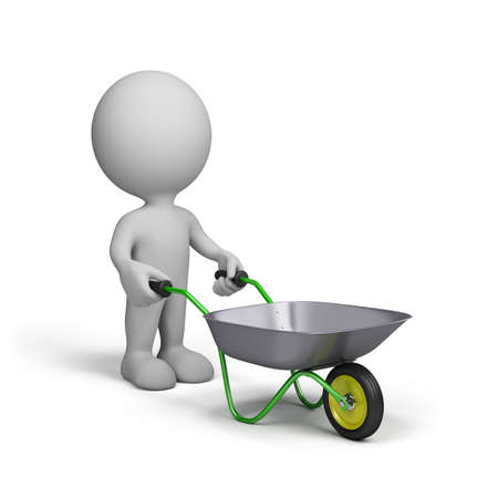3d man with garden trolley. 3d image. White background.