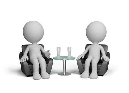amigas conversando: Dos hombres hablan amablemente sentado en una silla. Imagen en 3D. Fondo blanco. Foto de archivo