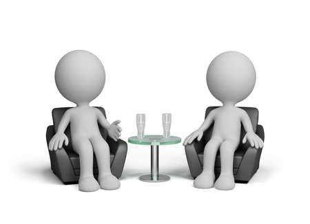 friendly: Two men talk amiably sitting in a chair. 3d image. White background.