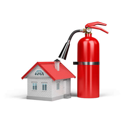 firefighting: The house and a fire extinguisher, the concept of property insurance against fire. 3d image. White background.