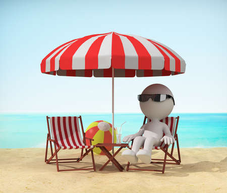 recline: Man resting on the beach in a deckchair. 3d image. White background.