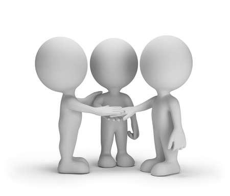 three friends: Three faithful friends. 3d image. White background. Stock Photo