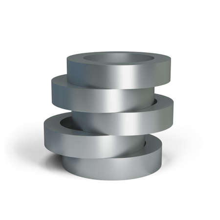 machining: Collapsible metal cylinder. 3d image. White background.