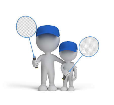 father and son: Dad and son with badminton rackets in their hands. 3d image. White background.