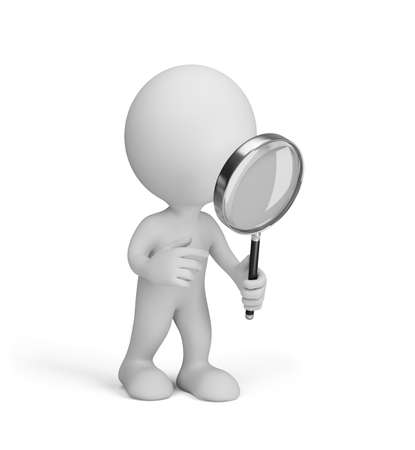 white man: 3d man stares through a magnifying glass. 3d image. White background. Stock Photo