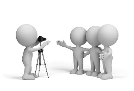 three friends: Photographer takes three friends. 3d image. White background.