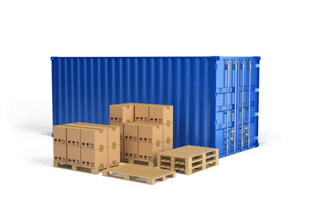 freight forwarding: Boxes on wooden pallet and shipping container. 3d image. White background.