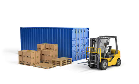Loader, the boxes on a wooden pallet, the transport container. 3d image. White background.
