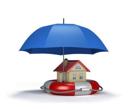 Casa sul salvagente, il concetto di assicurazione di proprietà. immagine 3D. Sfondo bianco. Archivio Fotografico - 49142436