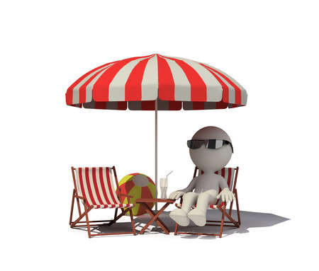 Man resting on the beach in a deckchair. 3d image. White background.