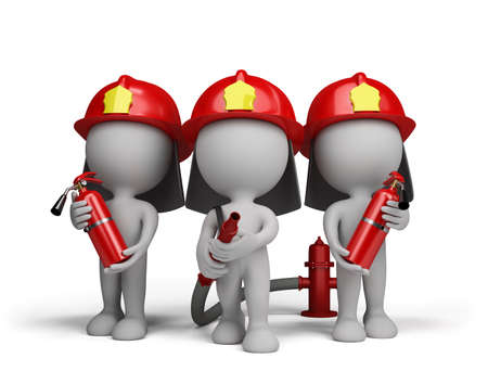 Three firefighter with a extinguishers and a water cannon. 3d image. White background.