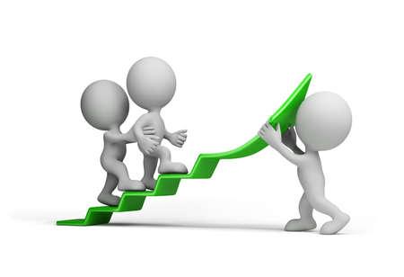 El hombre de negocios se mueve hacia arriba en la flecha verde. 3d imagen. Fondo blanco.