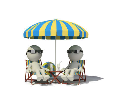 deckchair: Two people relaxing in a deckchair on the beach. 3d image. White background.