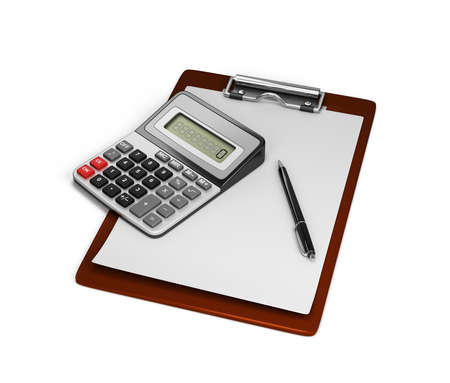 electronic background: Electronic calculator, notepad and pen. 3d image. White background.