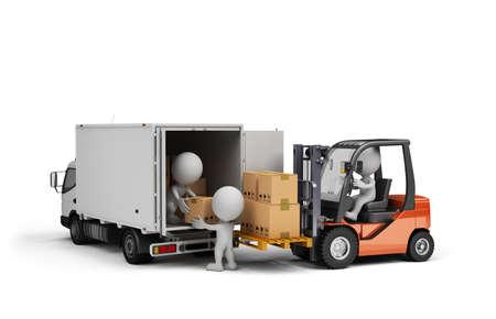 lift truck: Carretilla elevadora y coches con cajas. 3d imagen. Fondo blanco.