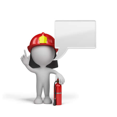 white people: Firefighter with a red fire extinguisher. 3d image. White background. Stock Photo