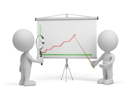 interests: 3d man looking at the chart through a magnifier. 3d image. White background. Stock Photo