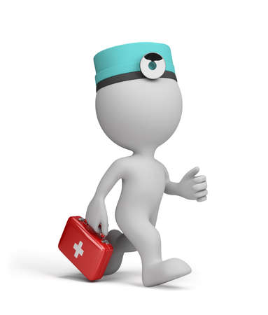 urgently: The doctor with the first-aid kit in a hurry to the patient on call. 3d image. White background.