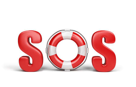 rescue: Red text SOS with lifebelt. 3d image. White background. Stock Photo