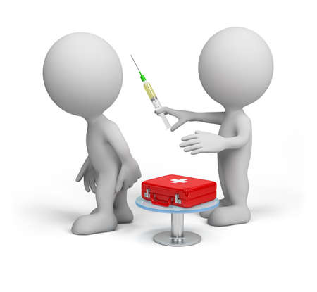 Doctor makes the patient an injection. 3D image. White background.