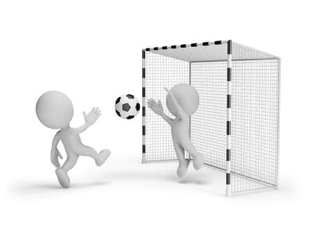 Footballer scores in the gate of the contender. 3d image. White background.