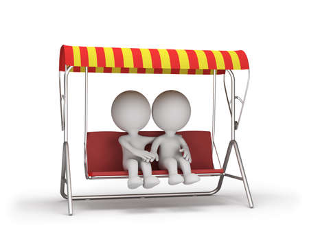 Two people sitting on a bench hugging. 3d image. White background.
