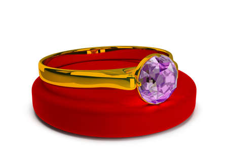 Gold ring with a precious stone on a stand made of velvet. 3d image. White background. Stock Photo