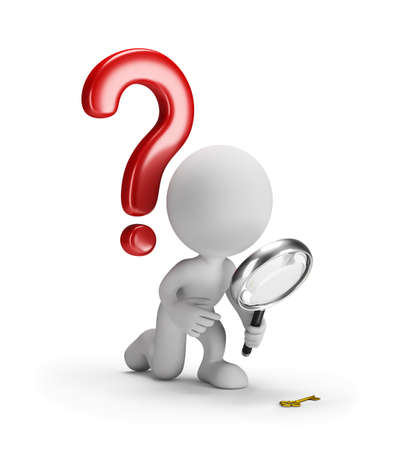 interrogative: 3D man with a magnifying glass and a question mark. 3d image. White background. Stock Photo