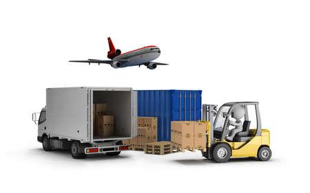 Chargeur, les boîtes sur une palette en bois, le conteneur de transport, l'avion, la voiture. Image 3D. Fond blanc.