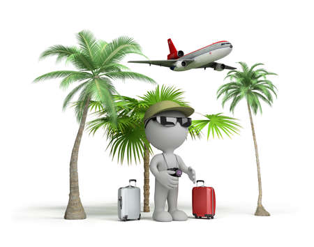 flew: The man on vacation flew to rest. 3d image. White background. Stock Photo