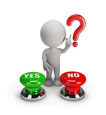 difficult decision: 3d man chooses yes or no button. 3d image. White background.