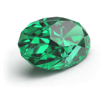 Emerald precious stone oval shape. 3d image. White background.