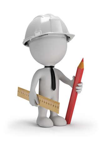 3D-man met een potlood, met een liniaal in een helm. 3D beeld. Witte achtergrond. Stockfoto