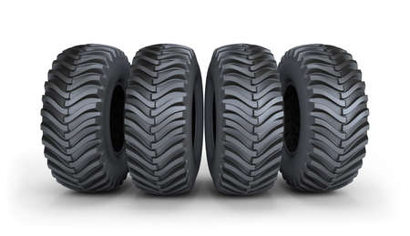 tread: Four large black tires with a powerful tread. 3d image. White background. Stock Photo