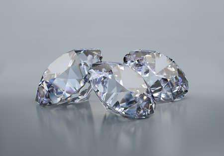 Three big beautiful diamonds on a dark background. 3d image. Dark background.