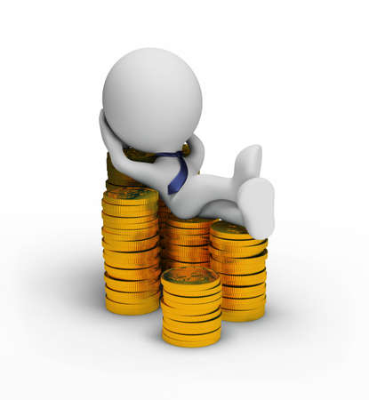 Successful businessman rest on coins. 3d image. White background. Stock Photo