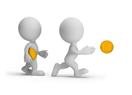 3d person tries to catch a coin. 3d image. White background. Stock Photo