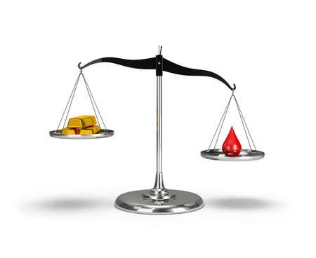 Lingotti d'oro e una goccia di sangue sulla bilancia. Immagine 3d. Sfondo bianco. Archivio Fotografico - 99432581