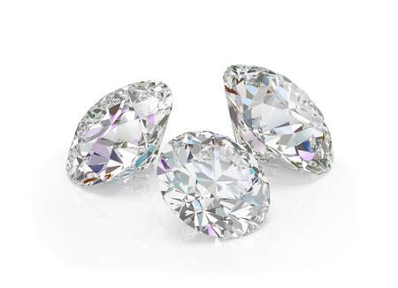 Three large, beautiful diamonds. 3d image. White background. Archivio Fotografico - 102697170