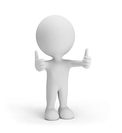 3d person in good spirits, two fingers up. 3d image. White background.