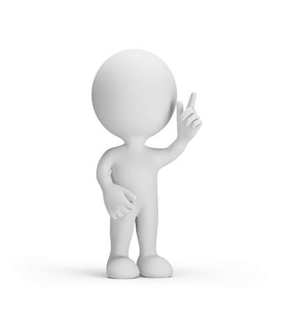 3d man with a raised finger in the top thoughtful. 3d image. White background.