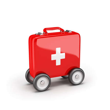 First aid kit on wheels in a hurry to help. 3D image. White background. 写真素材