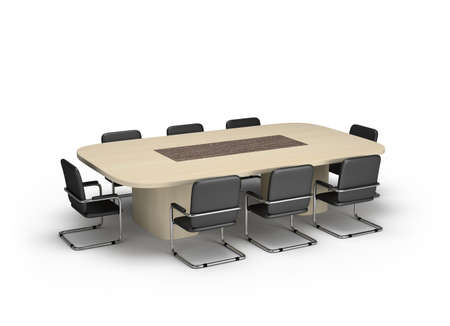 Conference room for negotiations with an oval table. 3D image. White background.